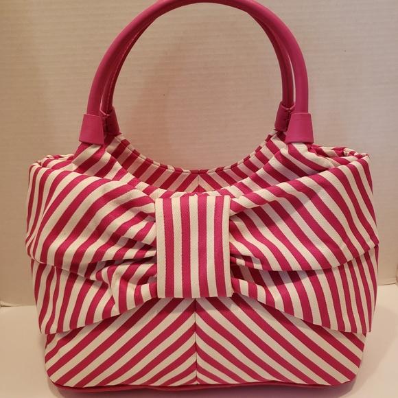 kate spade Handbags - Kate Spade hot pink and white stripe bow purse